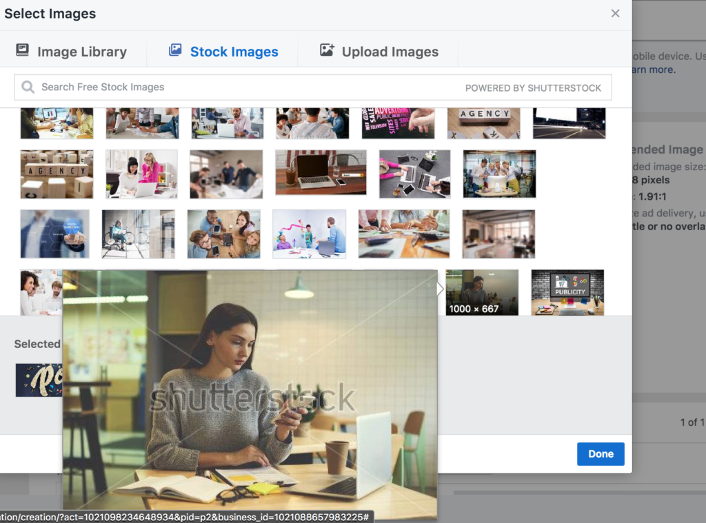 You can select image from shutterstock for your facebook ad