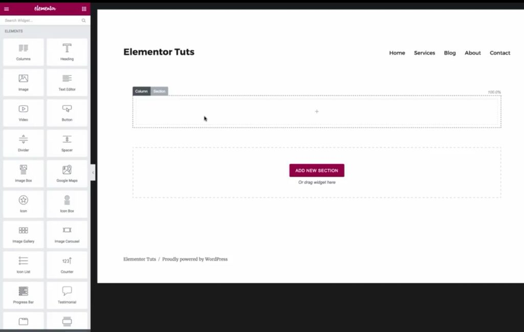 Add sections and elements with Elementor Page Builder