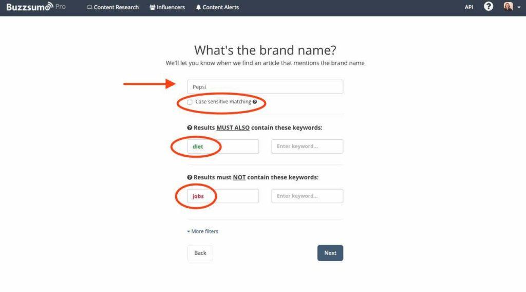 Buzzsumo, entering brand name