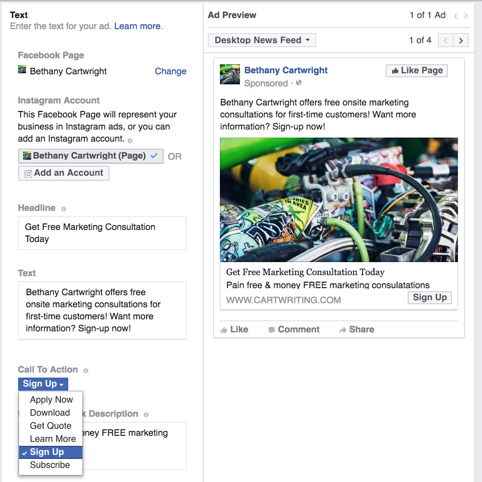 Facebook Leads Ad Call to Action text options