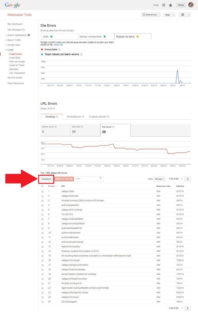 Download broken url report csv or google doc