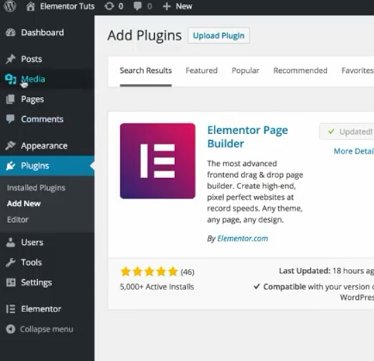 Install Elementor Page Builder for wordpress to build landing pages on wordpress