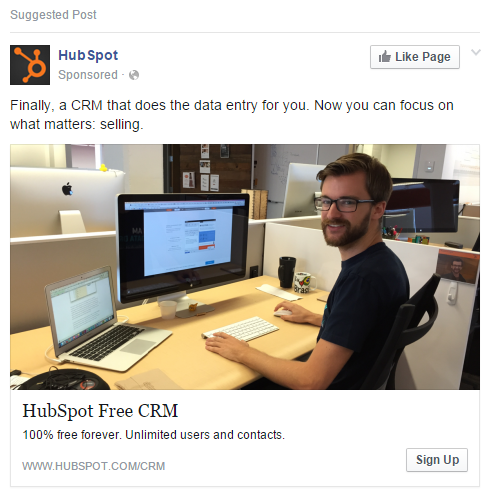 HubSpot free offer as part of Facebook Marketing Campaign
