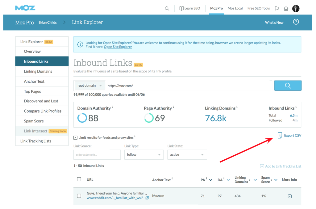 Inbound Links Export as CSV