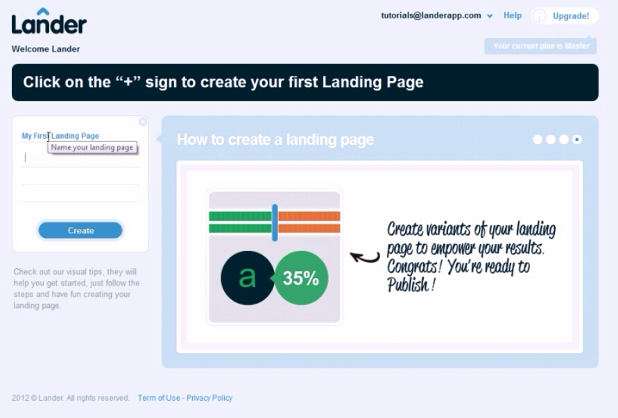 Enter Landing Page Name and click on create button