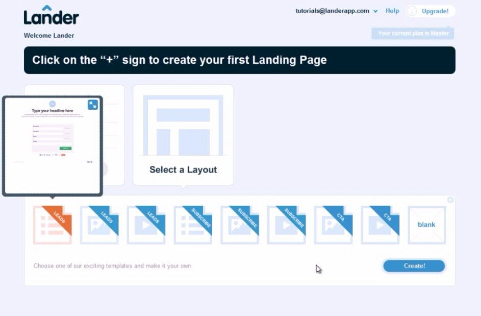 Choose Preferred Layout for Lander Landing Page