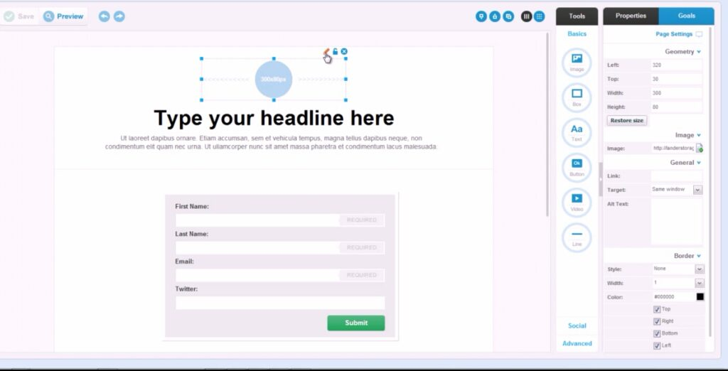 Edit elements of your landing page