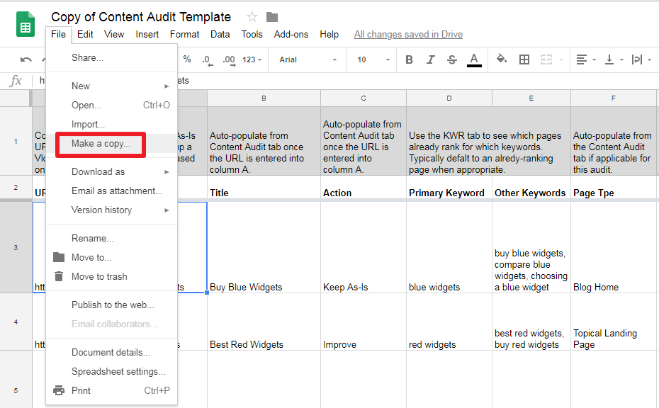 Make a copy of Key Performance Report Google Doc