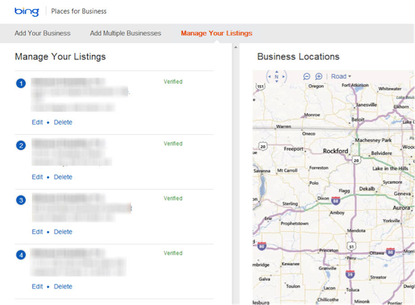 Manage Your Listings on Bing