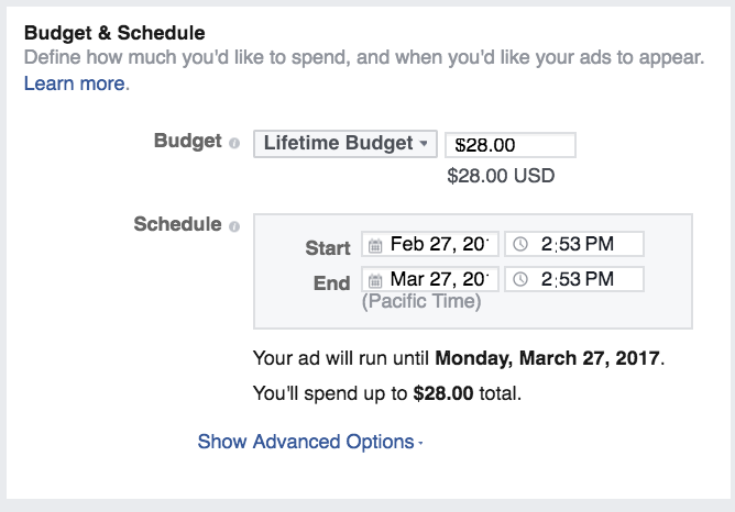 Set Up a budget for your ad
