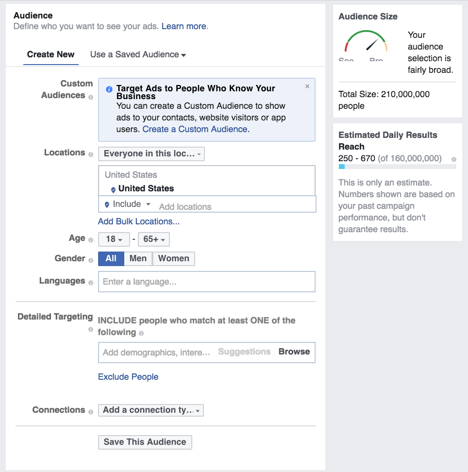 Create targeted audience for your facebook ad