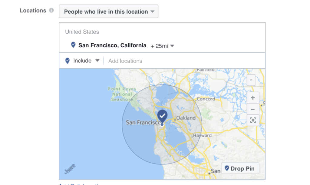 Set Up a location parameter for your Facebook Audience Targeting