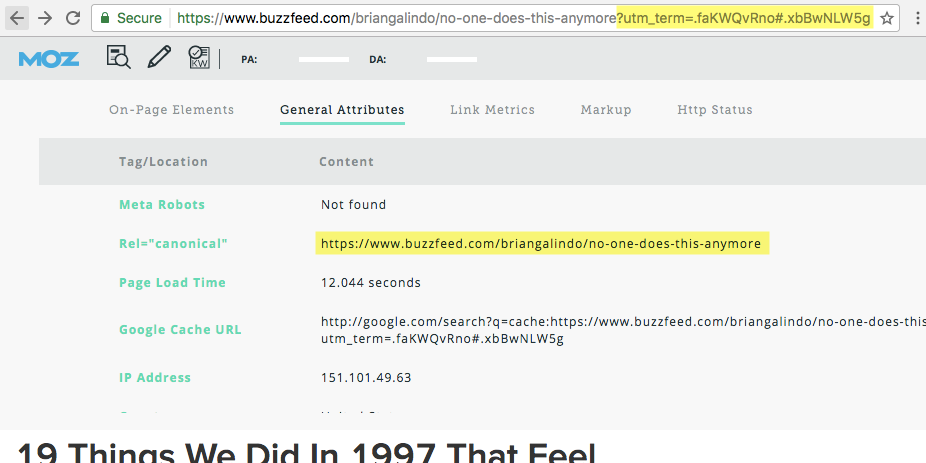 Buzzfeed example, implementing canonical link of original page