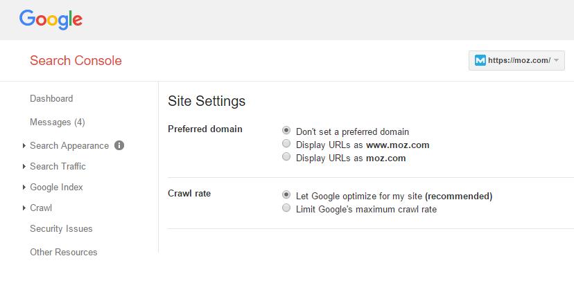 Set Up preferred version on google console, www vs non-www