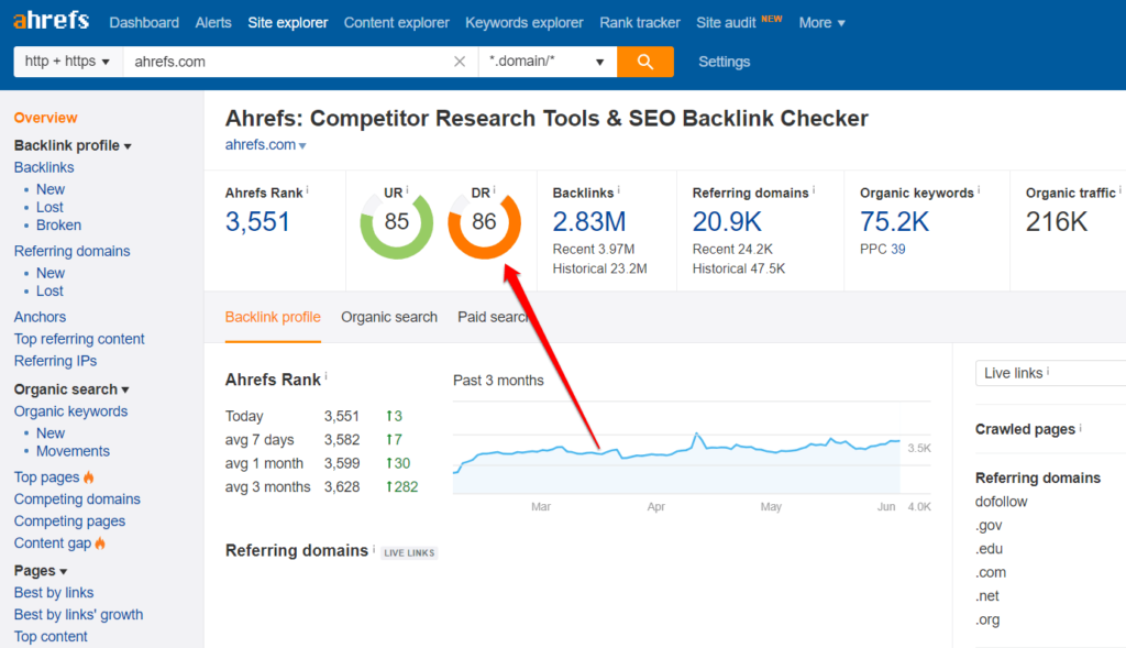 Ahrefs Backlinks Report