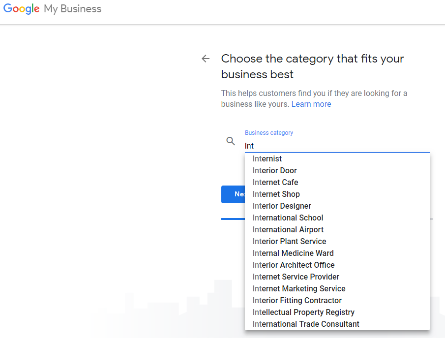 Choosing Business Category