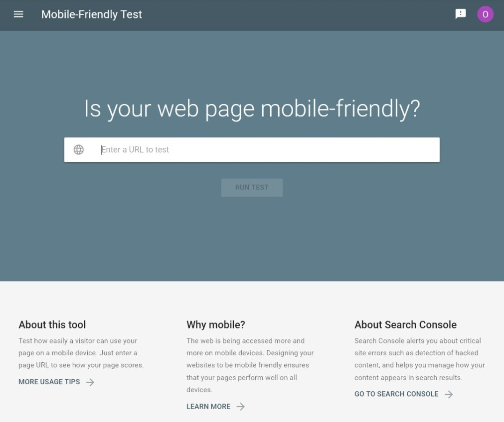 Google Mobile Friendly Test Page