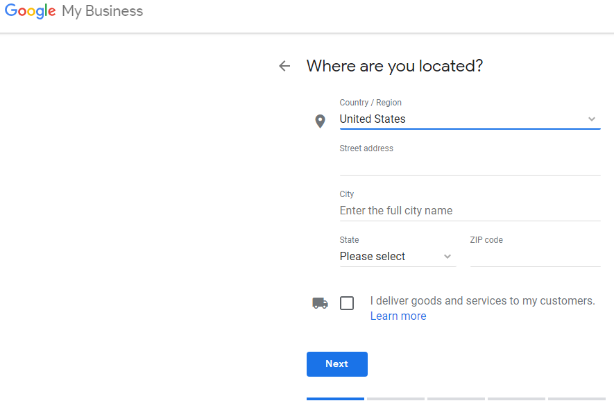 Google My Business Page, setting up location.