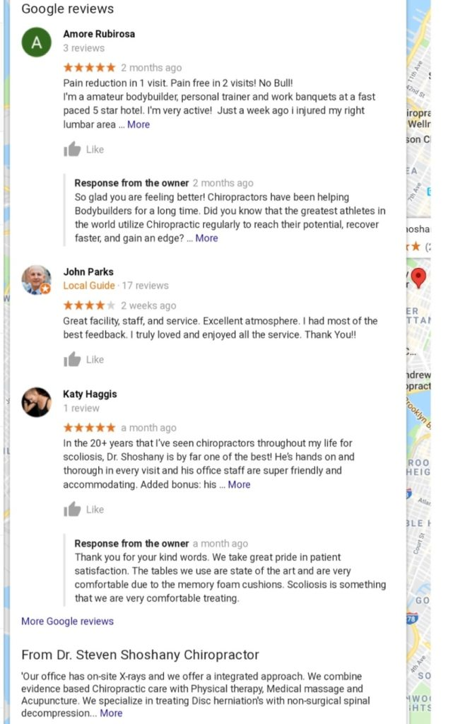 Google my business page reviews and owner replies