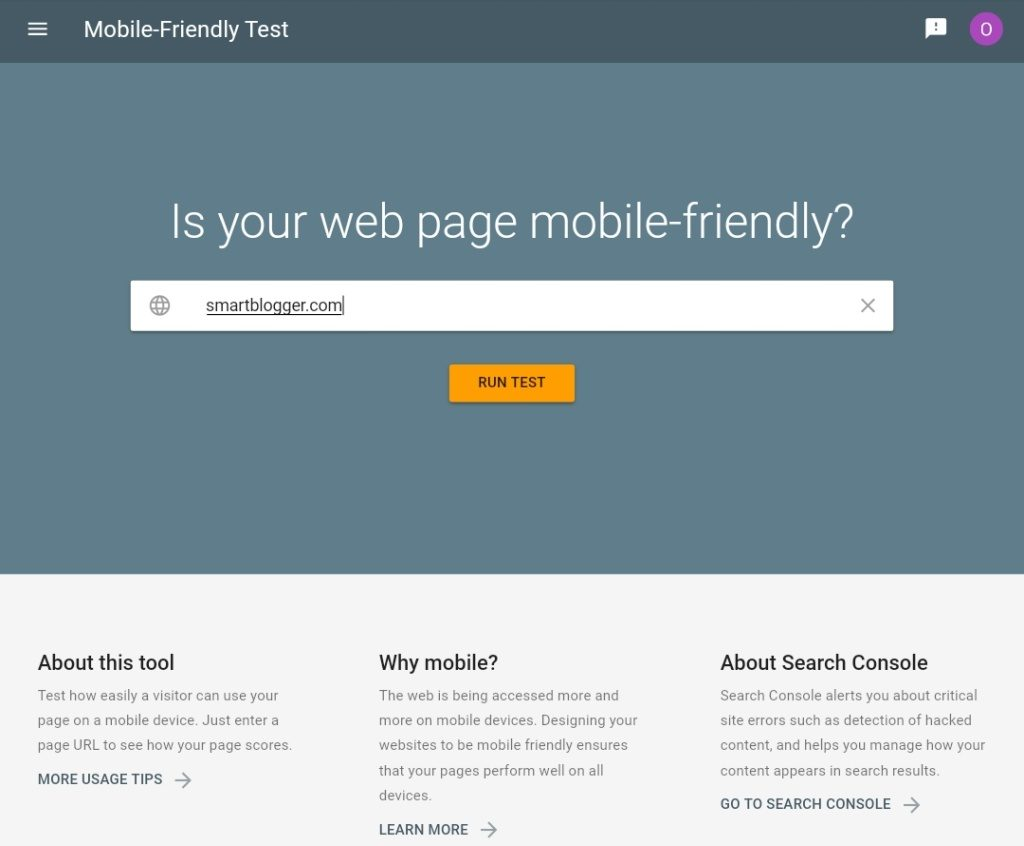 Enter a URL and click on Test Button to run a Mobile Friendly Test