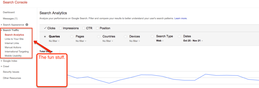 Google Search Console - Search Traffic Report