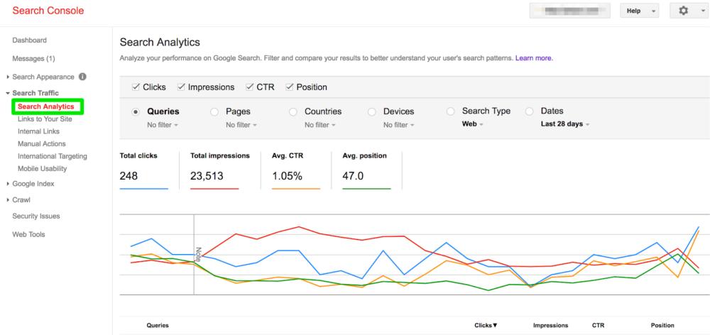 Google Search Console Traffic Report
