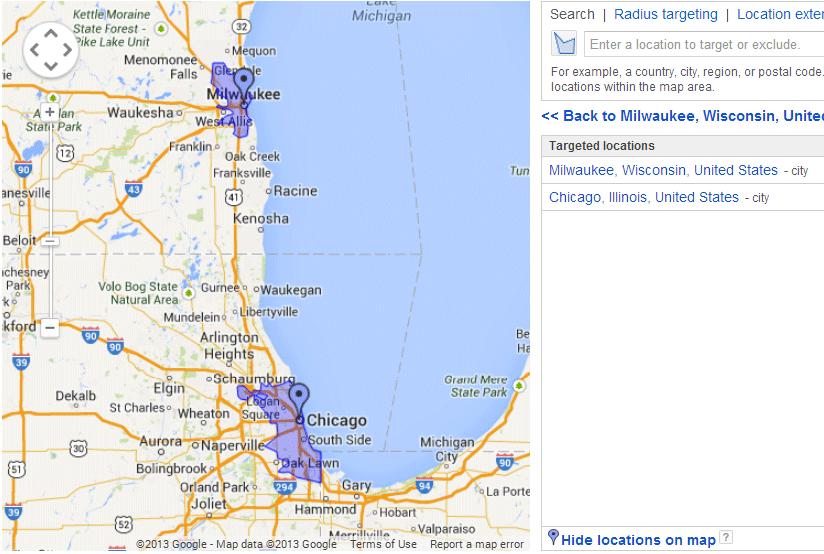 Location Settings - Region Highlighted