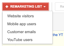 Remarketing List Four Options