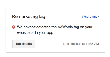 Remarketing Tag Notification