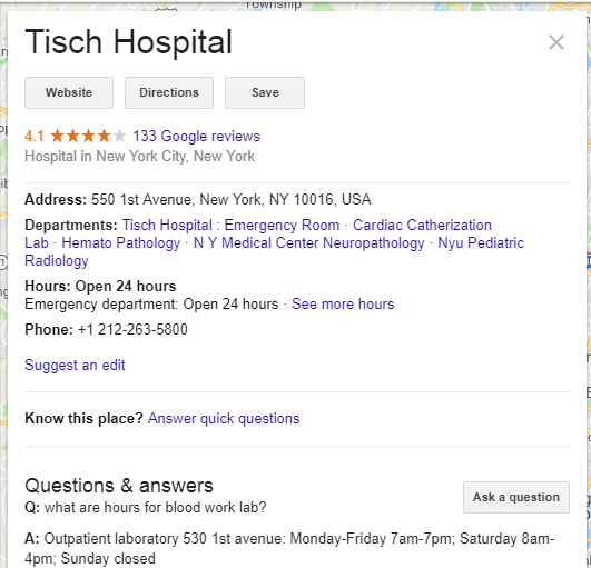 Tisch Hospital Google My Business Page