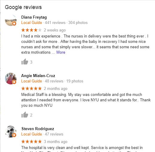 Tisch Hospital Google Reviews
