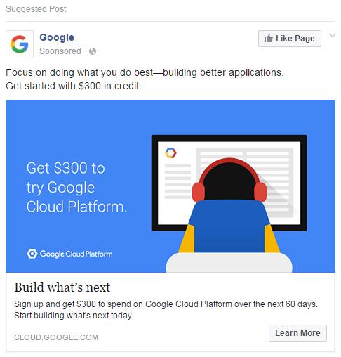 Facebook ad examples Google