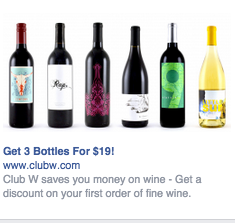 Facebook retargeting ad by Winc