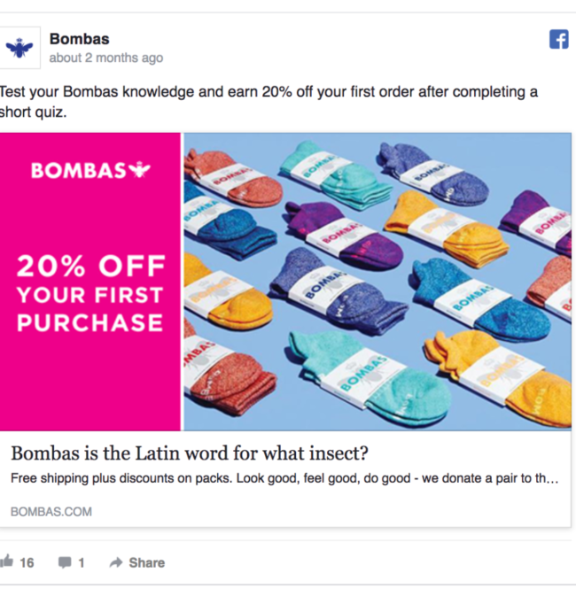 Facebook Offer Ad, example from Bombas