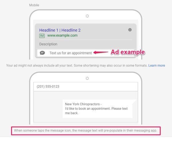 Ad Example using Phone Extension