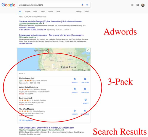 Google Map Pack in Search Results Page