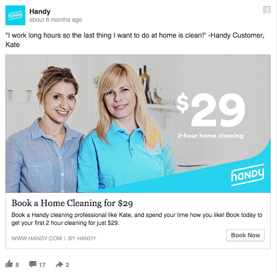 Reach Ad Example by Handy