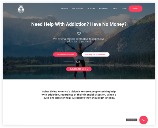 Sober Living Website Call to Action
