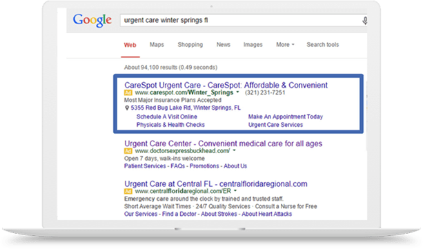 CareSpot Google AdWords