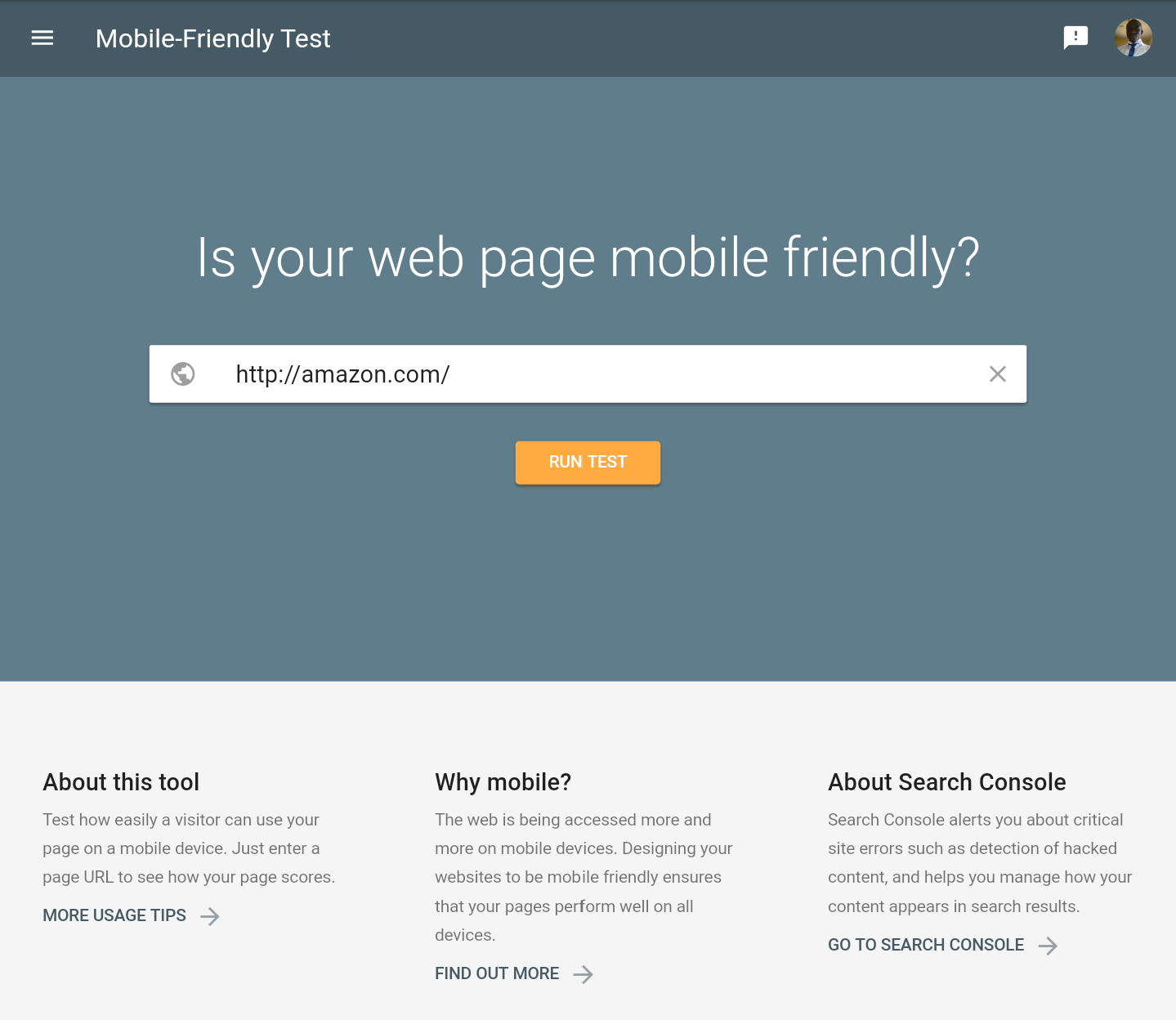 Use Google's Mobile-friendly Test website to check your website's page speed