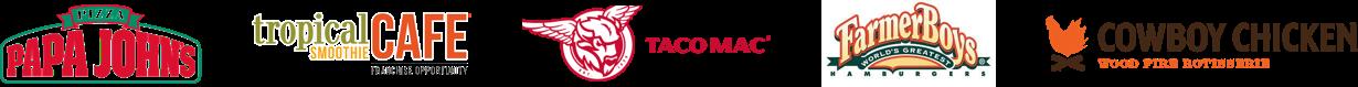 Tropical Cafe, Taco Mac, Farmer Boys, Papa Johns, Cowboy Chicken
