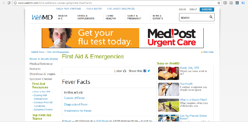 healthcare advertising example that shows relationship between ad and healthcare content
