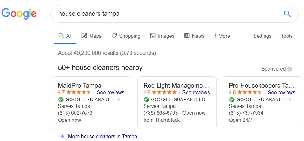 example of local google ads