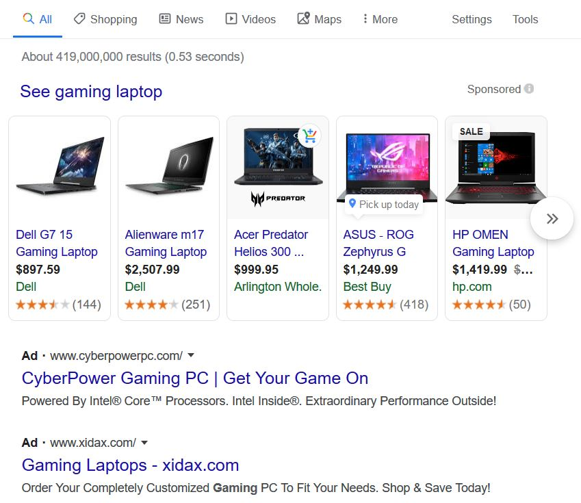 example of google ads within the search engine results page