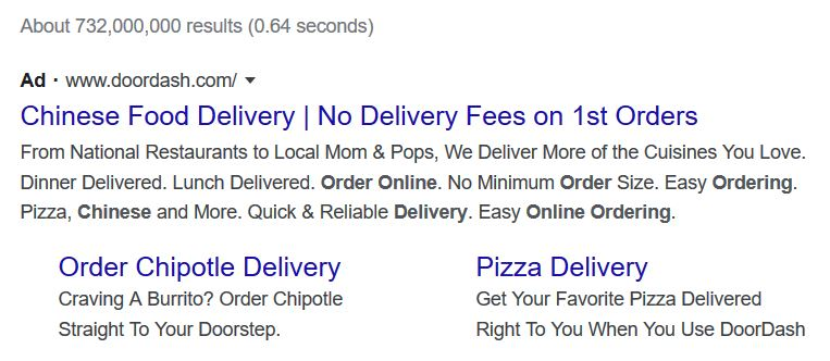 an example of a Google Ad with an ad extension