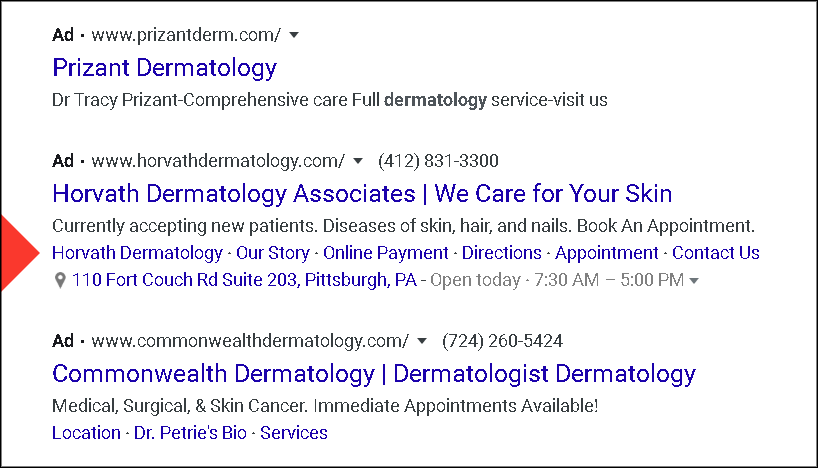 example of a healthcare google ad extension