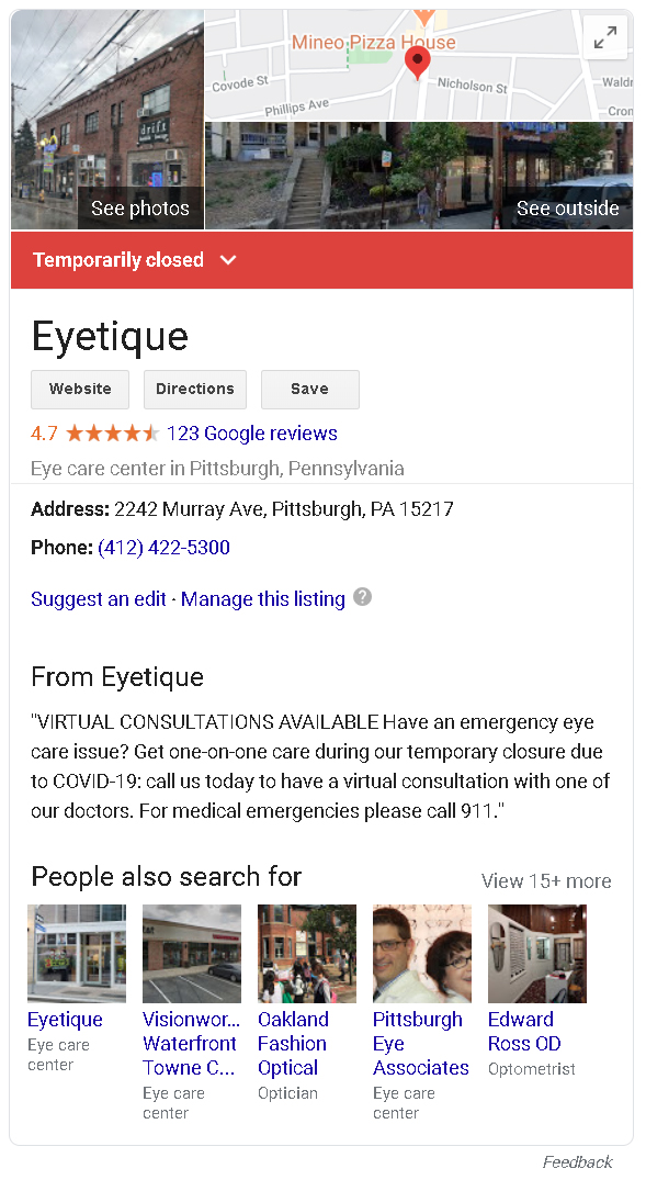 update your google my business (GMB) listing to reflect accurate operations and hours