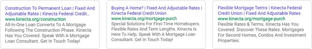 Kinecta Paid Search Ad Campaigns