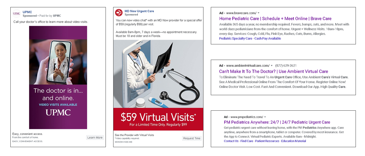 examples of telehealth google ads and facebook ads