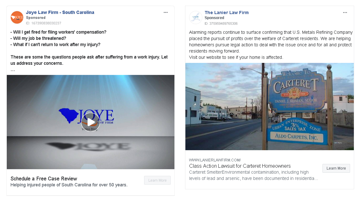 Facebook Ad examples for law firms